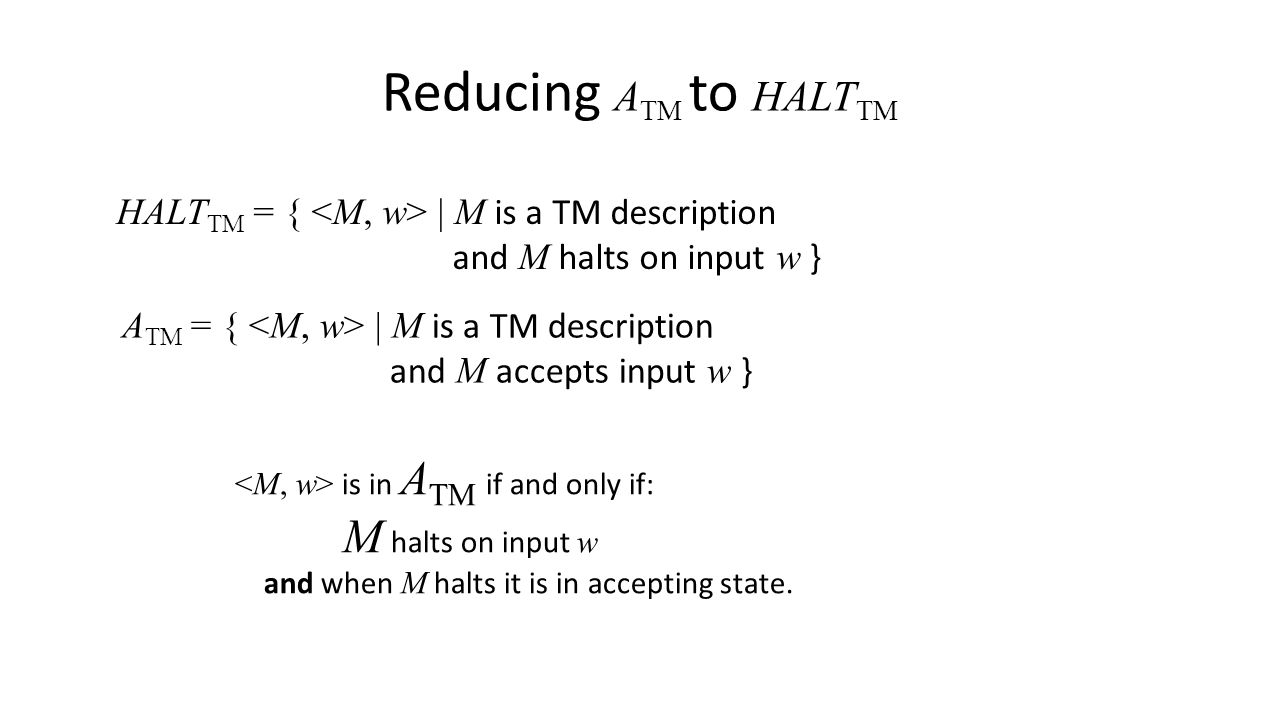 Reducing A TM to HALT TM HALT TM = { | M is a TM description and M halts on input w } A TM = { | M is a TM description and M accepts input w } is in A TM if and only if: M halts on input w and when M halts it is in accepting state.