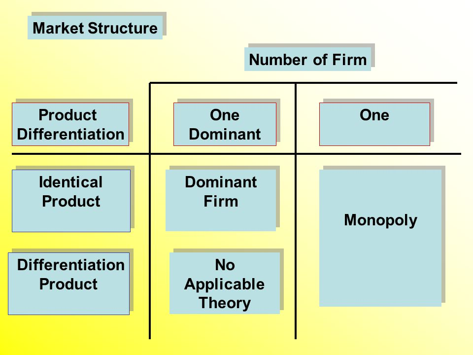 Product Differentiation Product Differentiation One Dominant One Dominant Number of Firm Differentiation Product Differentiation Product Identical Product Identical Product Dominant Firm Dominant Firm No Applicable Theory No Applicable Theory Monopoly Market Structure