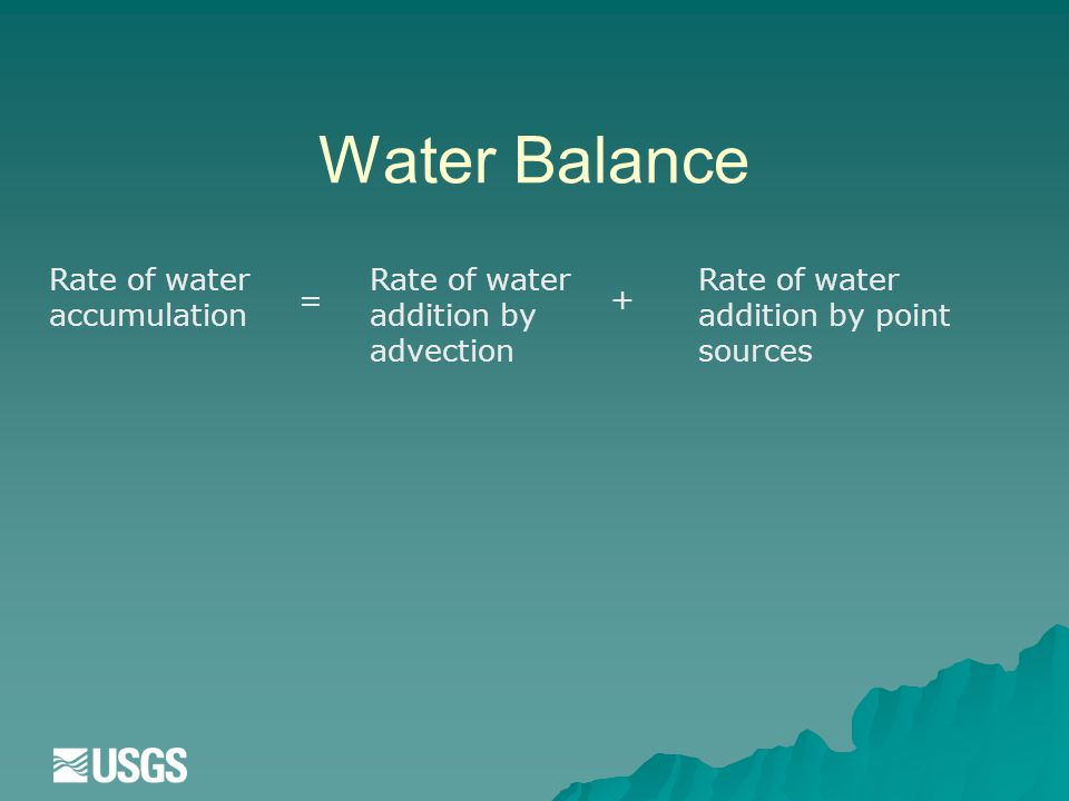 Water Balance Rate of water accumulation = Rate of water addition by advection + Rate of water addition by point sources