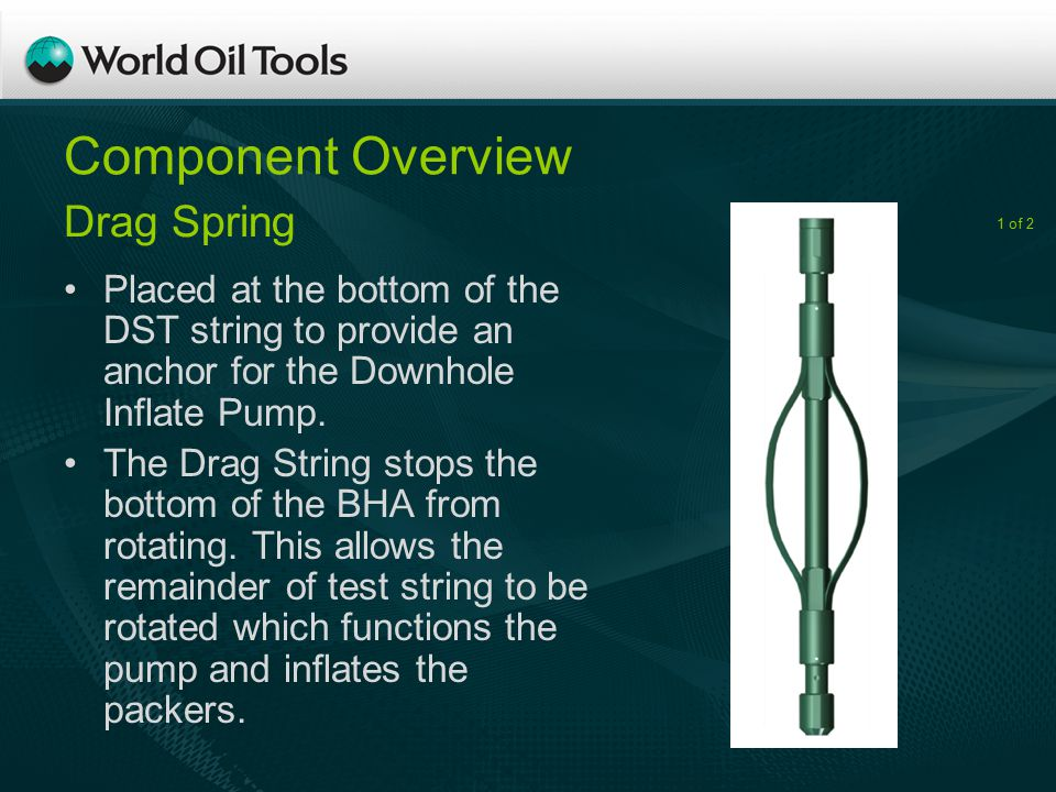 Component Overview Placed at the bottom of the DST string to provide an anchor for the Downhole Inflate Pump.