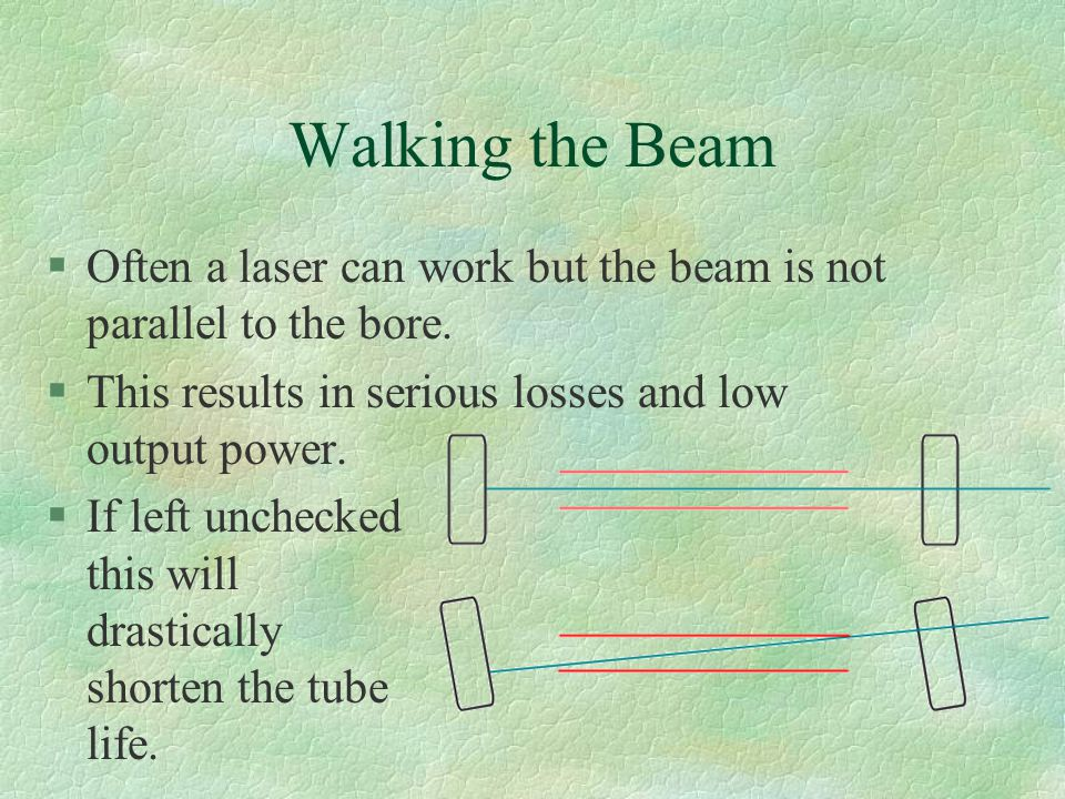 Walking the Beam §Often a laser can work but the beam is not parallel to the bore.