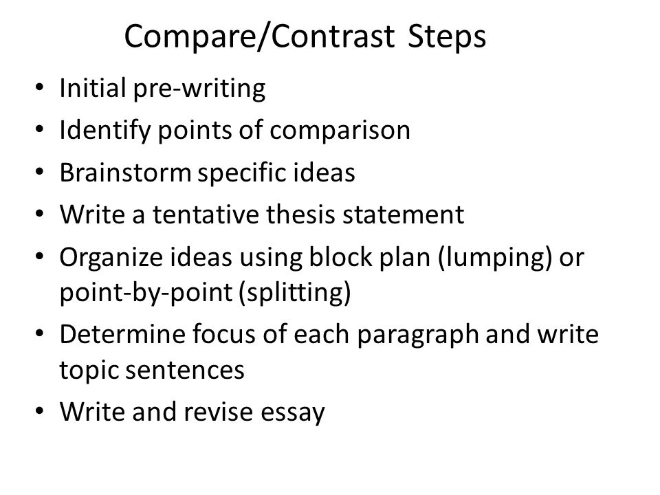 step up to writing compare contrast essay Fill out the order form step-by-step comparison essay tutorial june 9, 2017 by sam basic essay writing tips when writing the compare and contrast essay body.