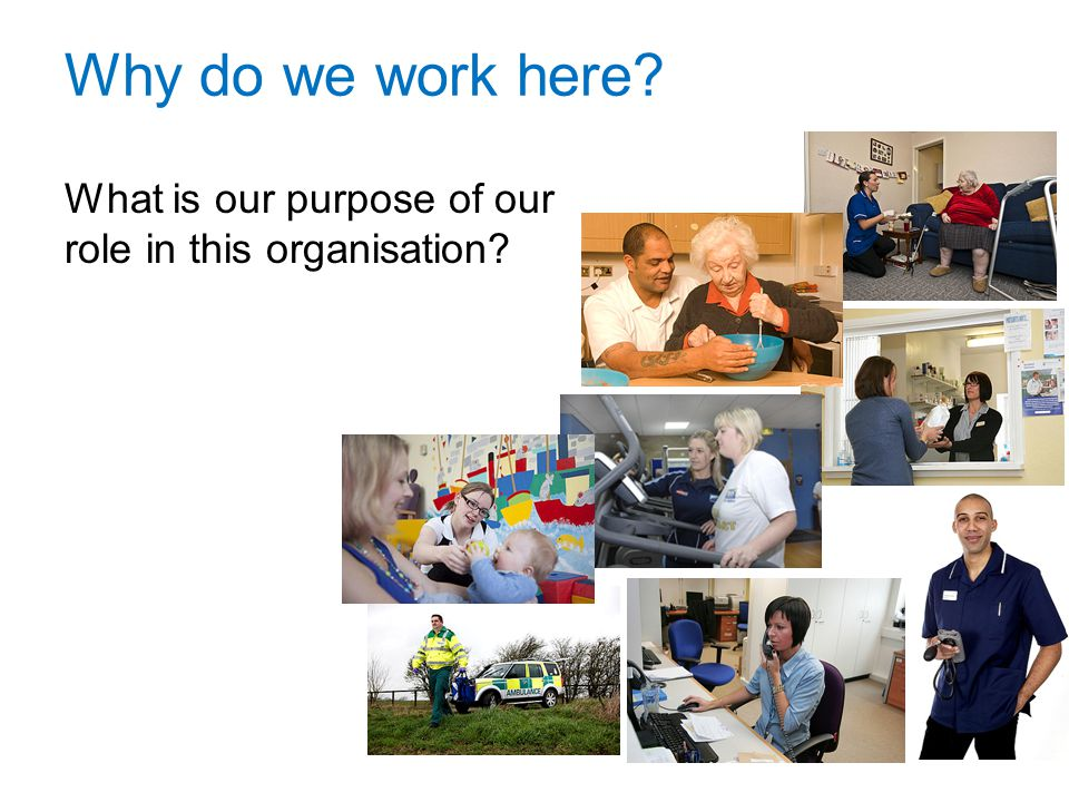 Why do we work here What is our purpose of our role in this organisation