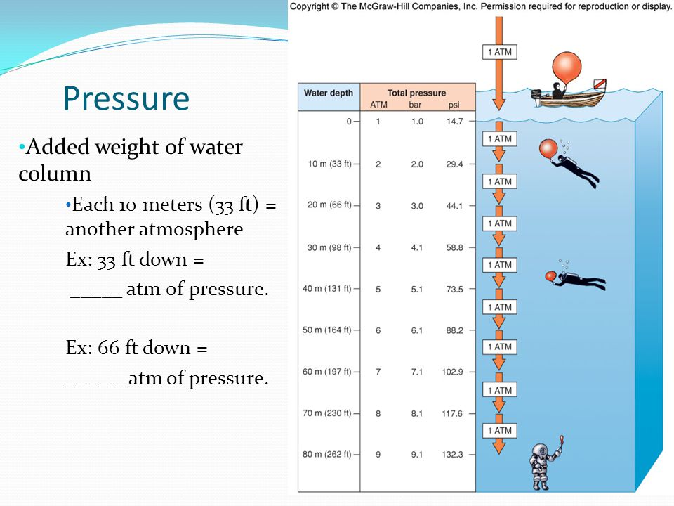 Pressure Added weight of water column Each 10 meters (33 ft) = another atmosphere Ex: 33 ft down = _____ atm of pressure.