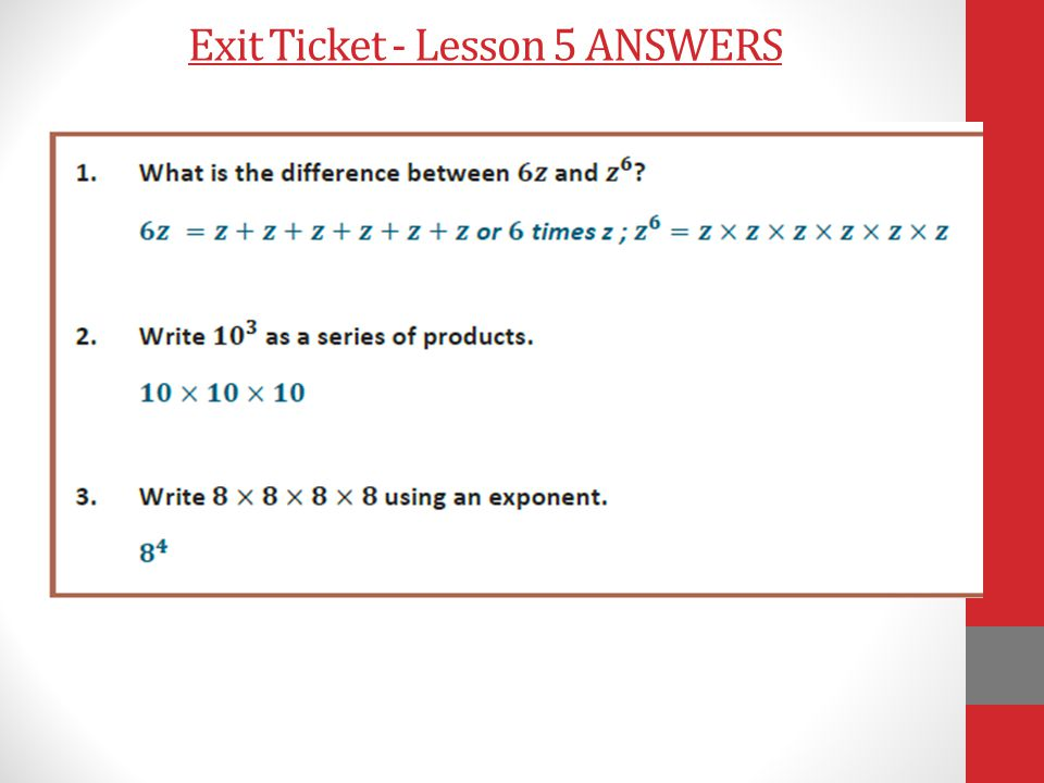 Exit Ticket - Lesson 5 ANSWERS