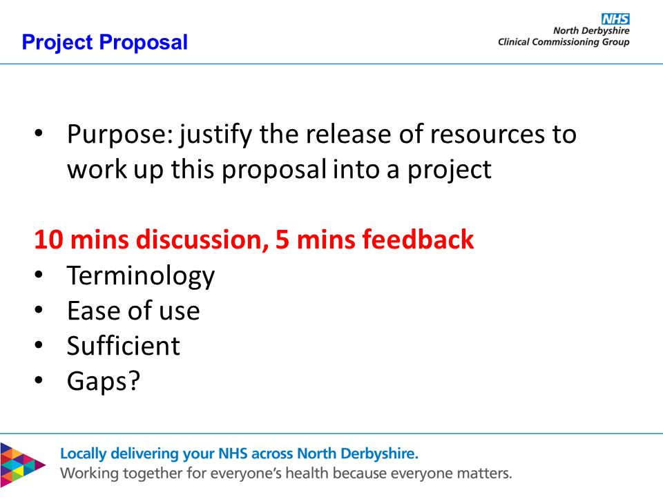 Project Proposal Purpose: justify the release of resources to work up this proposal into a project 10 mins discussion, 5 mins feedback Terminology Ease of use Sufficient Gaps