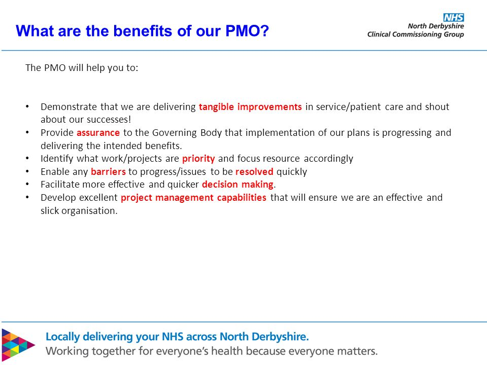 What are the benefits of our PMO.
