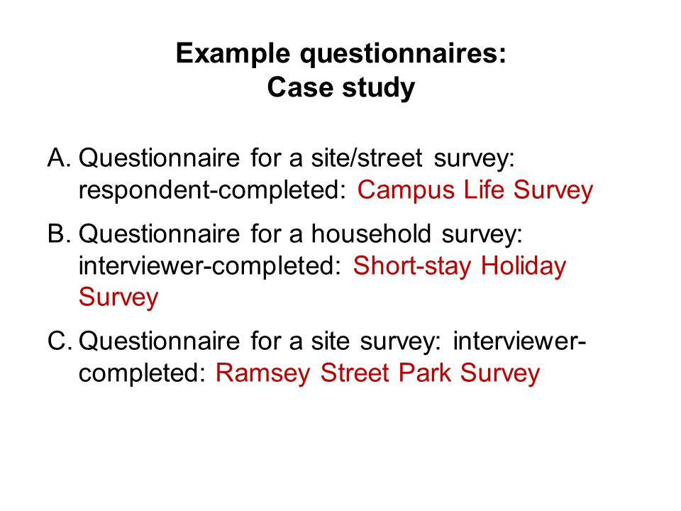 questionnaire study This article shows a sample questionnaire with insert notes for every section in this article, we will take a look at a sample questionnaire about customer satisfaction on qrz family restaurant, and.