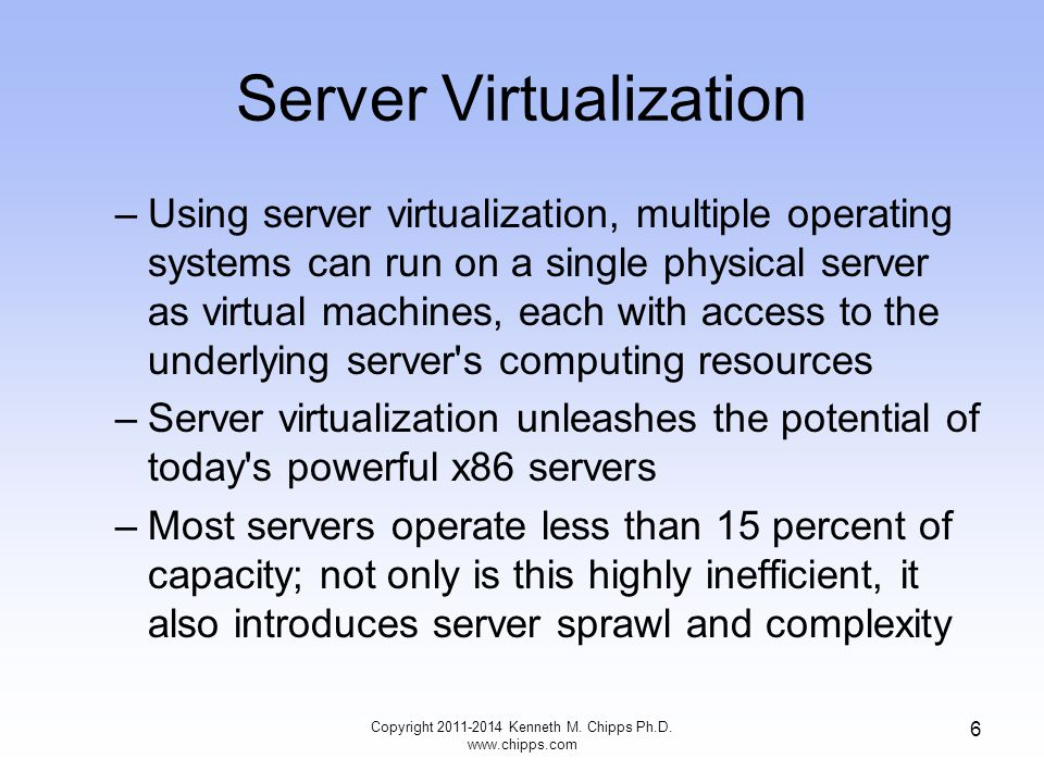 Server Virtualization –Using server virtualization, multiple operating systems can run on a single physical server as virtual machines, each with access to the underlying server s computing resources –Server virtualization unleashes the potential of today s powerful x86 servers –Most servers operate less than 15 percent of capacity; not only is this highly inefficient, it also introduces server sprawl and complexity Copyright Kenneth M.
