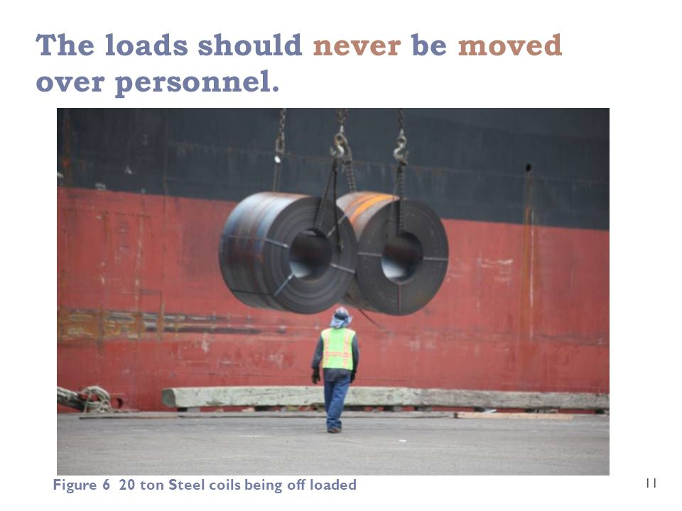 The loads should never be moved over personnel. 11 Figure 6 20 ton Steel coils being off loaded