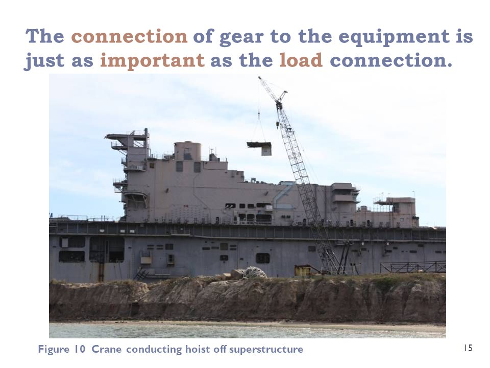 The connection of gear to the equipment is just as important as the load connection.