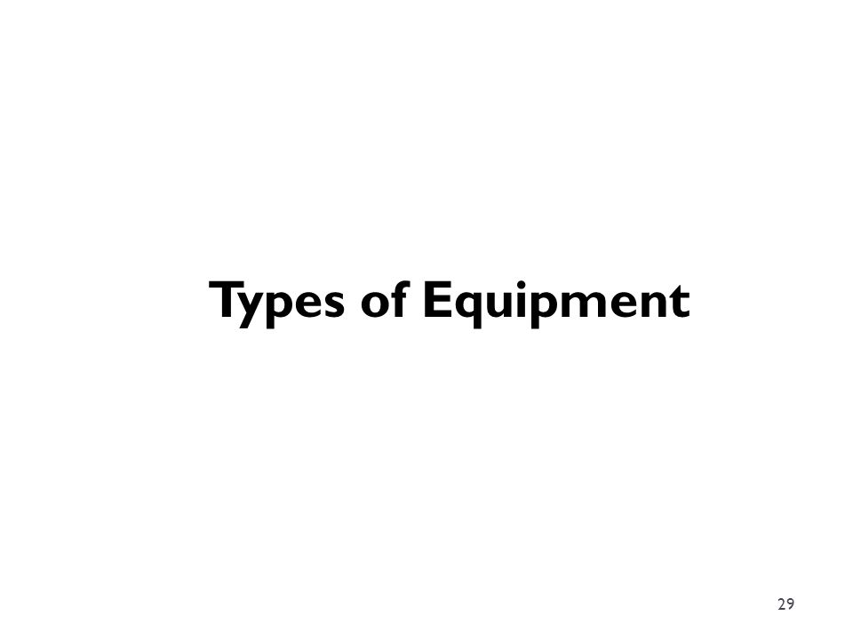 29 Types of Equipment