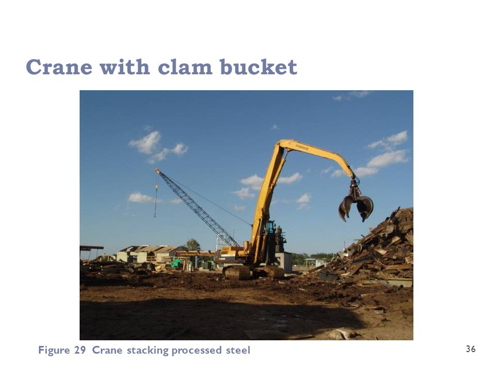 Crane with clam bucket 36 Figure 29 Crane stacking processed steel