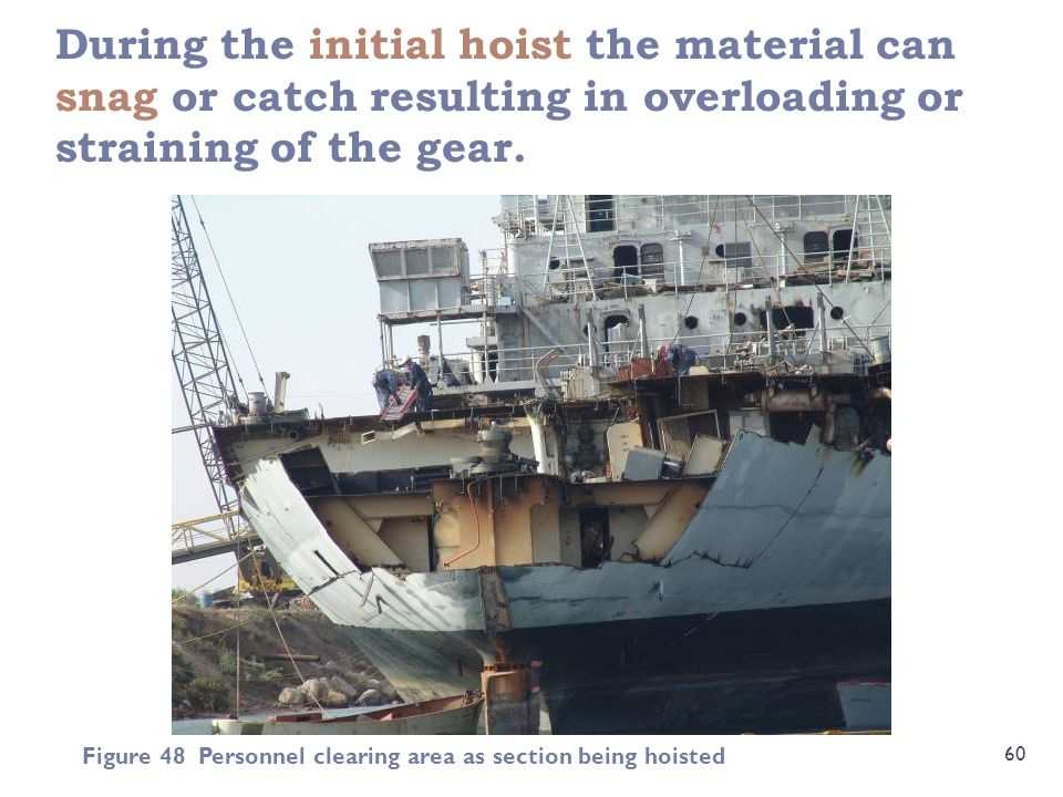During the initial hoist the material can snag or catch resulting in overloading or straining of the gear.