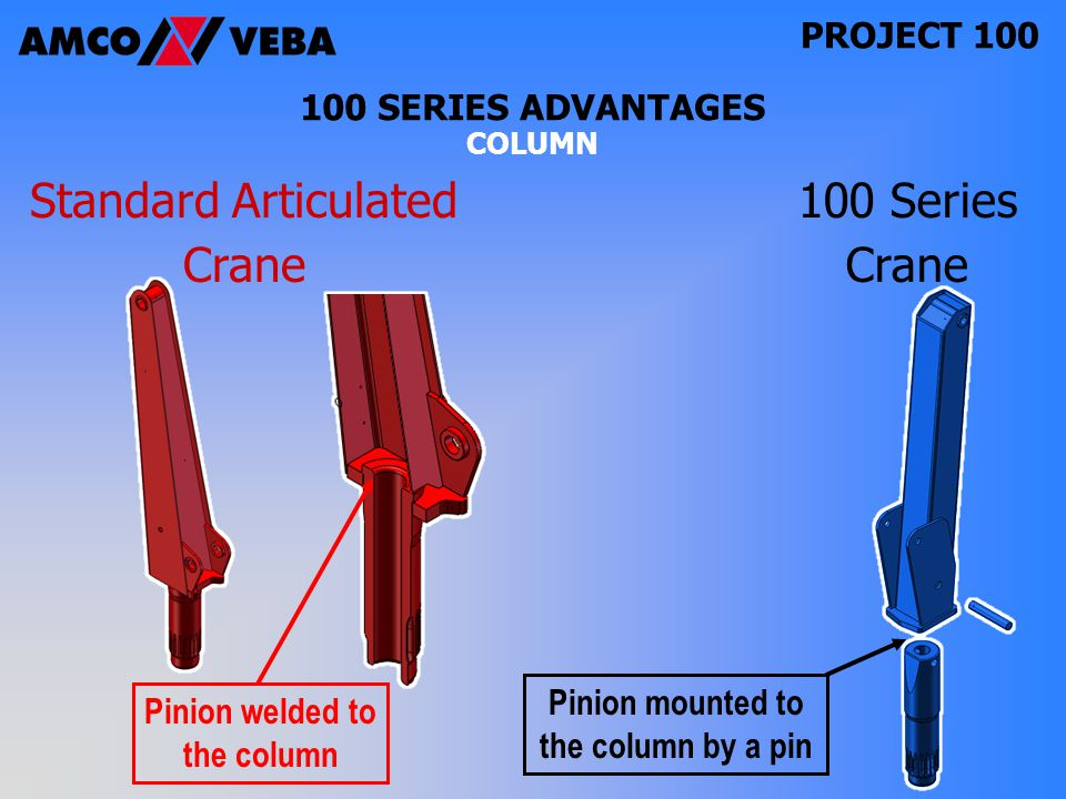 PROJECT SERIES ADVANTAGES COLUMN 100 Series Crane Pinion mounted to the column by a pin Pinion welded to the column Standard Articulated Crane