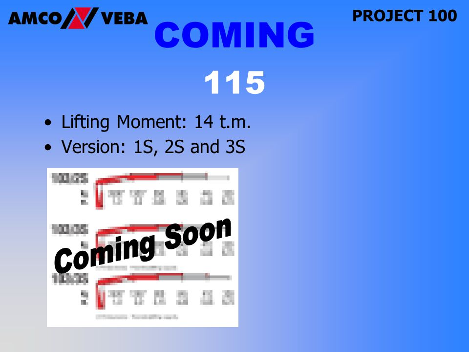PROJECT 100 Lifting Moment: 14 t.m. Version: 1S, 2S and 3S 115 COMING
