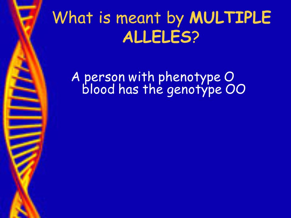 What is meant by MULTIPLE ALLELES A person with phenotype O blood has the genotype OO