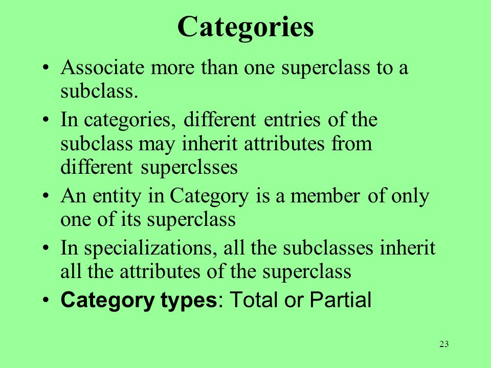 23 Categories Associate more than one superclass to a subclass.