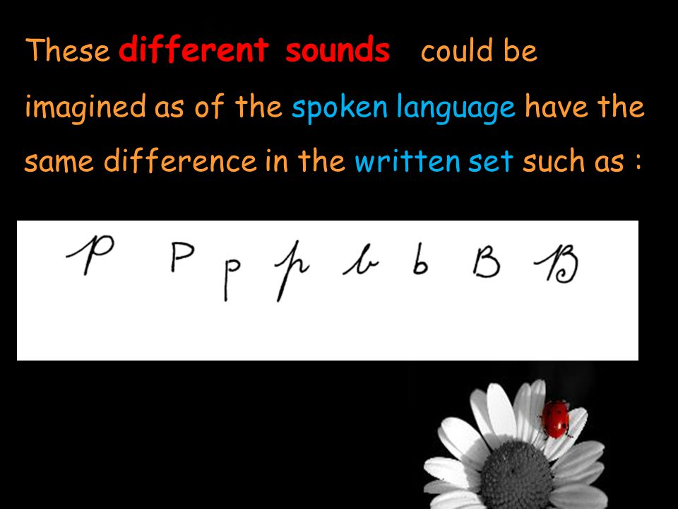 different sounds These different sounds could be imagined as of the spoken language have the same difference in the written set such as :