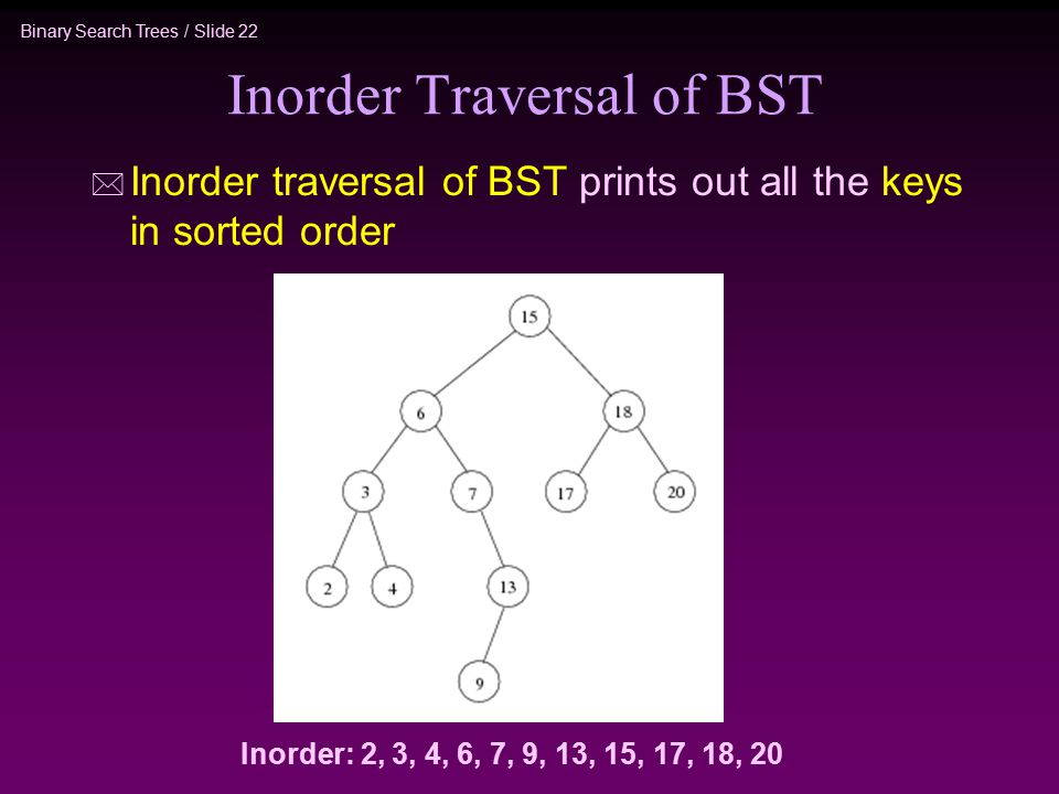 Binary Search Trees / Slide 22 Inorder Traversal of BST * Inorder traversal of BST prints out all the keys in sorted order Inorder: 2, 3, 4, 6, 7, 9, 13, 15, 17, 18, 20