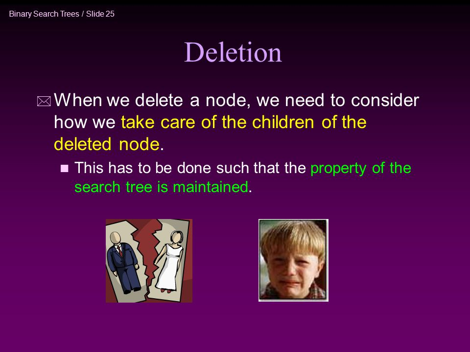 Binary Search Trees / Slide 25 Deletion * When we delete a node, we need to consider how we take care of the children of the deleted node.