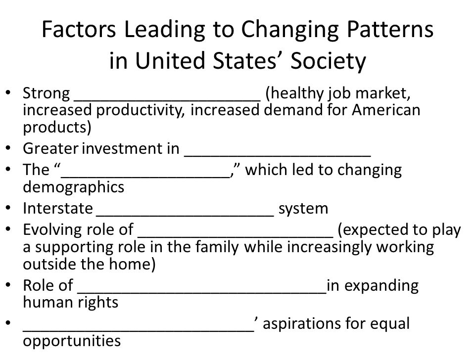 Factors Leading to Changing Patterns in United States' Society Strong _____________________ (healthy job market, increased productivity, increased demand for American products) Greater investment in _____________________ The ___________________, which led to changing demographics Interstate ____________________ system Evolving role of ______________________ (expected to play a supporting role in the family while increasingly working outside the home) Role of ____________________________in expanding human rights __________________________' aspirations for equal opportunities
