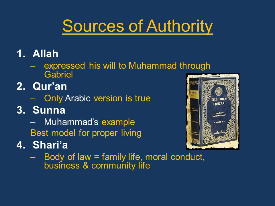 Sources of Authority 1.Allah –expressed his will to Muhammad through Gabriel 2.Qur'an –Only Arabic version is true 3.Sunna –Muhammad's example Best model for proper living 4.Shari'a –Body of law = family life, moral conduct, business & community life