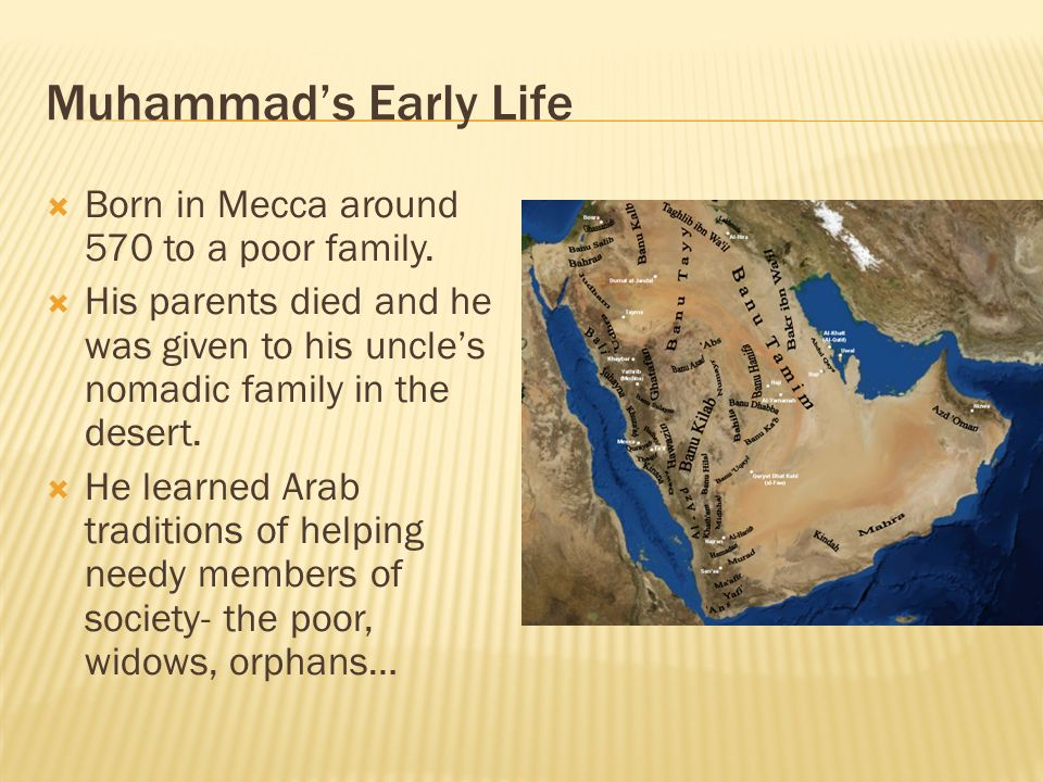 Arabia before Muhammad continued  A powerful Arab tribe called the Quraysh settled at an oasis called Makkah.