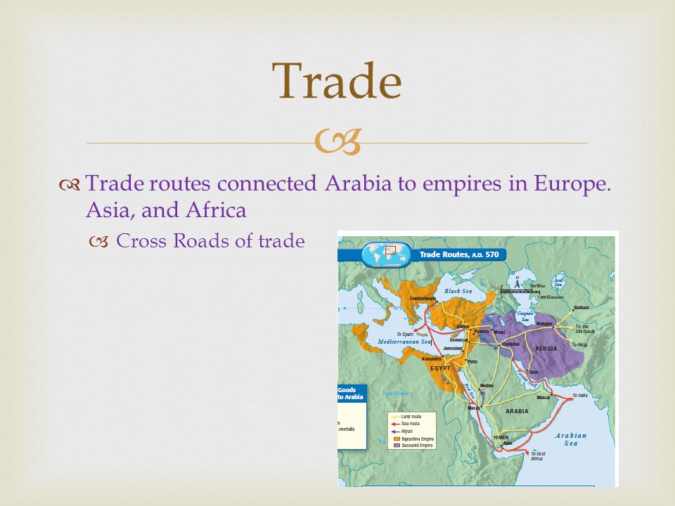   Trade routes connected Arabia to empires in Europe.
