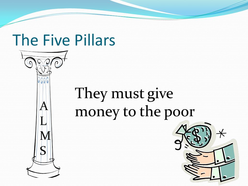 The Five Pillars They must give money to the poor ALMSALMS