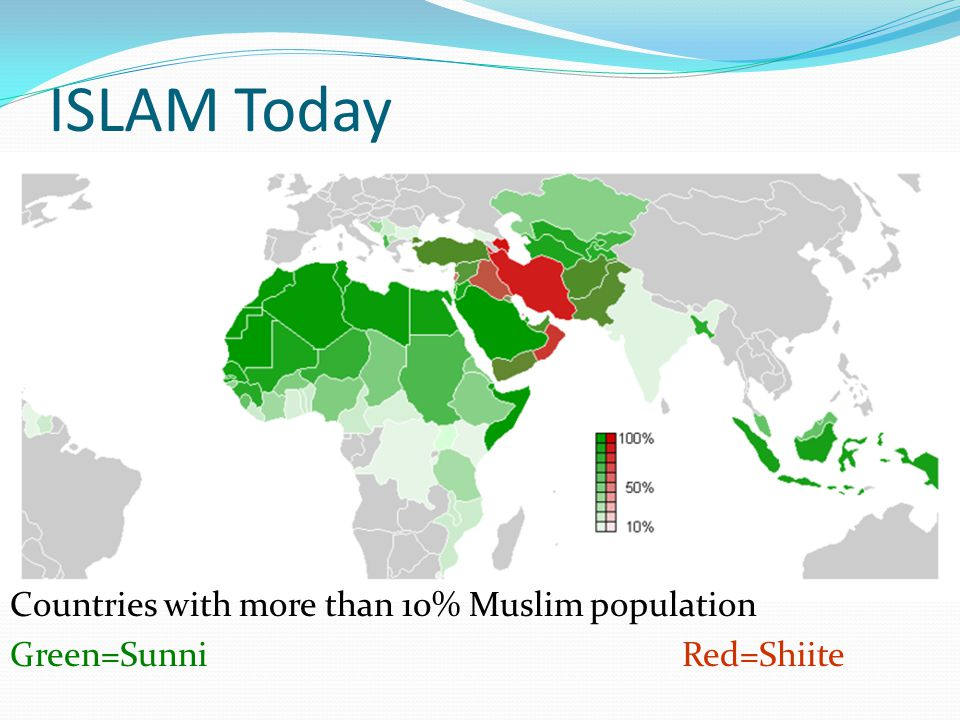 ISLAM Today Countries with more than 10% Muslim population Green=SunniRed=Shiite