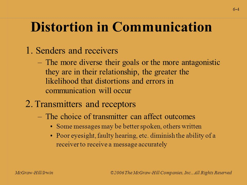 6-4 McGraw-Hill/Irwin ©2006 The McGraw-Hill Companies, Inc., All Rights Reserved Distortion in Communication 1.