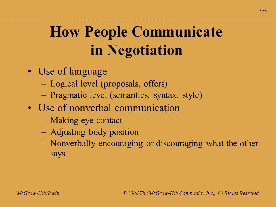 6-9 McGraw-Hill/Irwin ©2006 The McGraw-Hill Companies, Inc., All Rights Reserved How People Communicate in Negotiation Use of language –Logical level (proposals, offers) –Pragmatic level (semantics, syntax, style) Use of nonverbal communication –Making eye contact –Adjusting body position –Nonverbally encouraging or discouraging what the other says