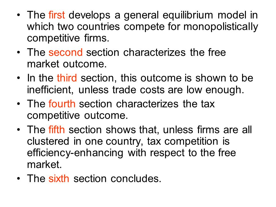 The first develops a general equilibrium model in which two countries compete for monopolistically competitive firms.
