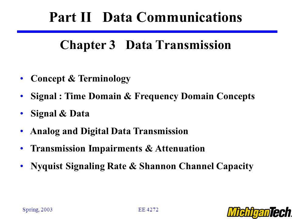 Ee Concept ee 4272spring 2003 chapter 3 data transmission part ii data