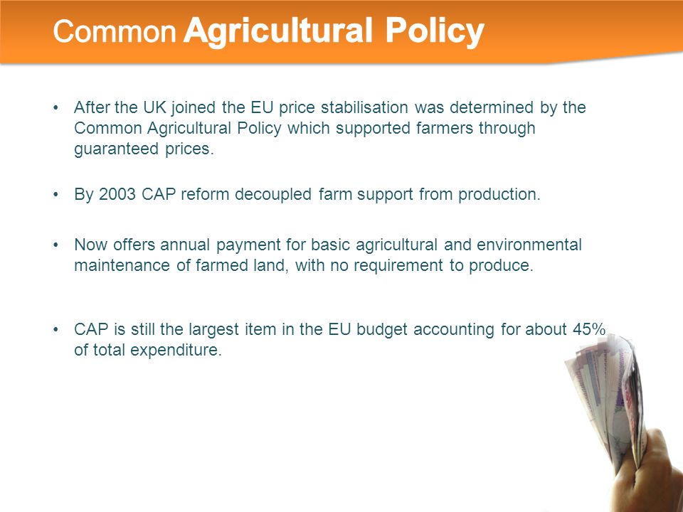 After the UK joined the EU price stabilisation was determined by the Common Agricultural Policy which supported farmers through guaranteed prices.