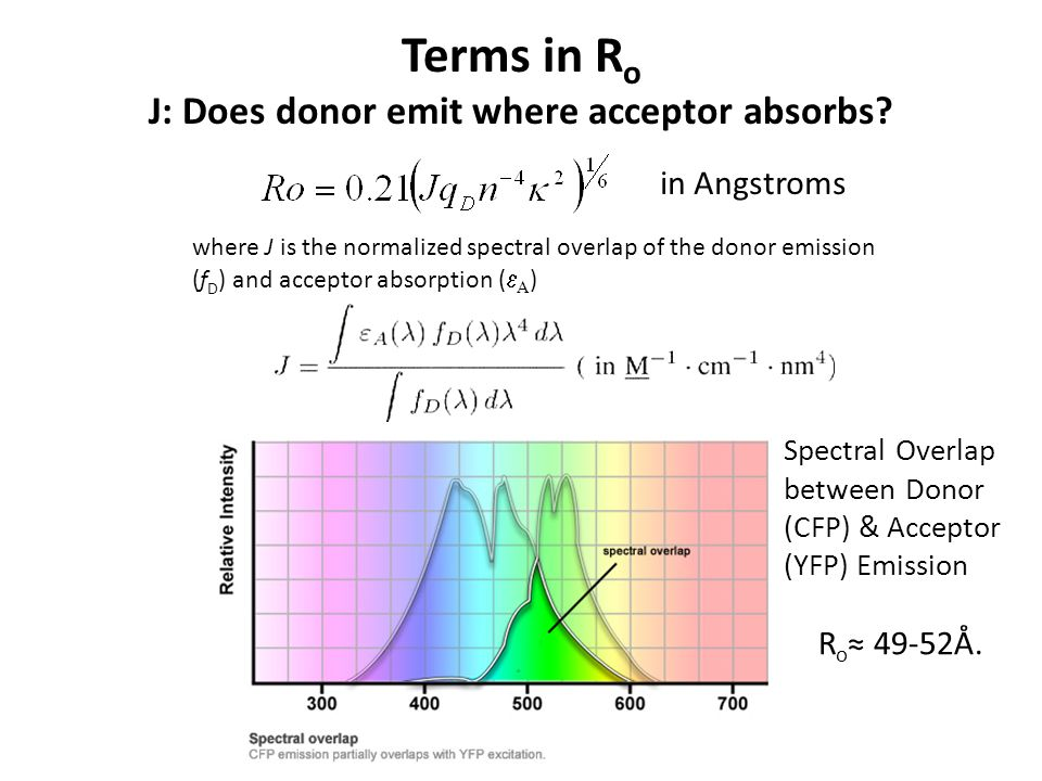 Terms in R o J: Does donor emit where acceptor absorbs.