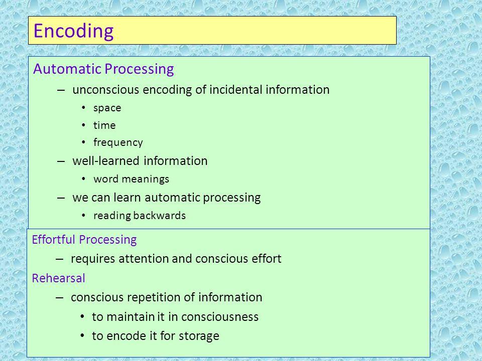 7 Automatic Processing Unconscious Encoding