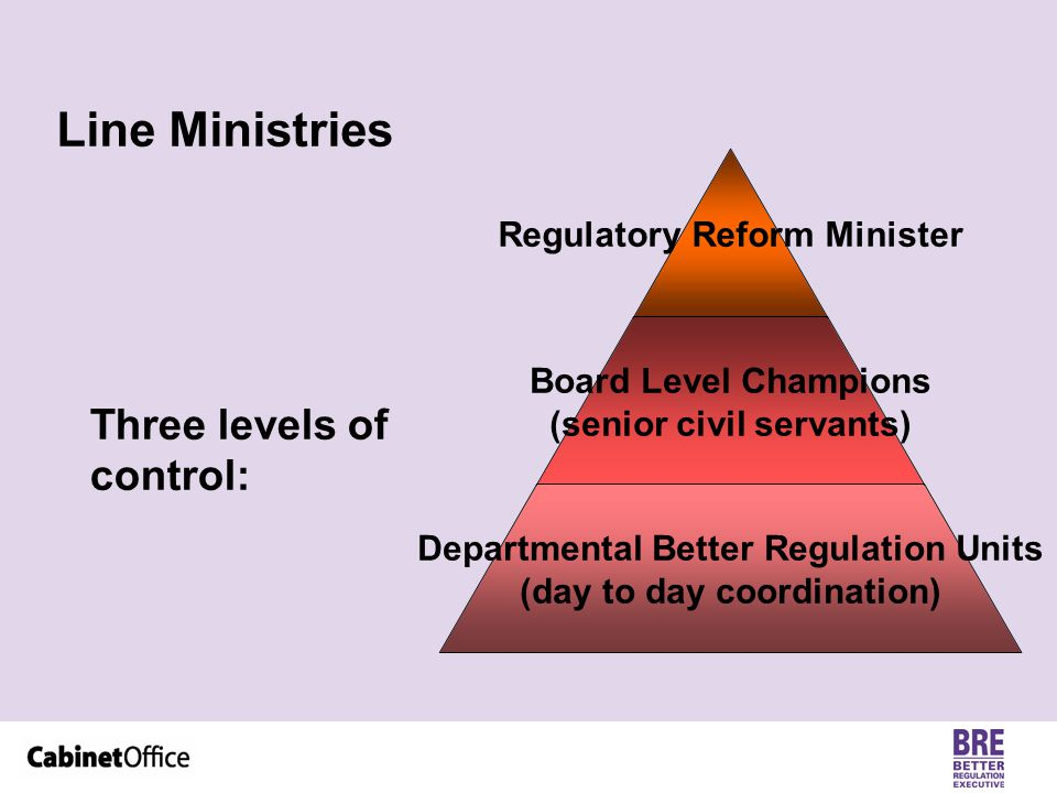 Line Ministries Regulatory Reform Minister Board Level Champions (senior civil servants) Departmental Better Regulation Units (day to day coordination) Three levels of control:
