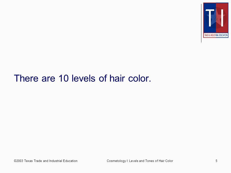 2003 Texas Trade And Industrial Education1 Cosmetology Levels And
