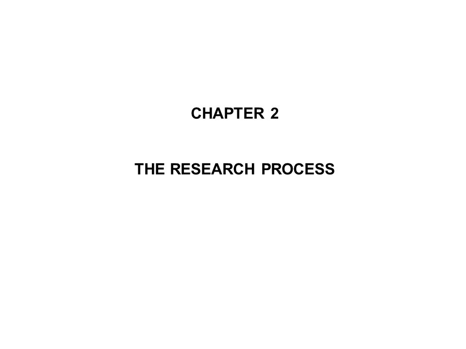 CHAPTER 2 THE RESEARCH PROCESS