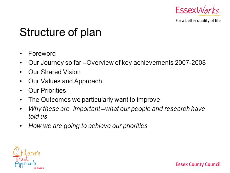 Structure of plan Foreword Our Journey so far –Overview of key achievements Our Shared Vision Our Values and Approach Our Priorities The Outcomes we particularly want to improve Why these are important –what our people and research have told us How we are going to achieve our priorities