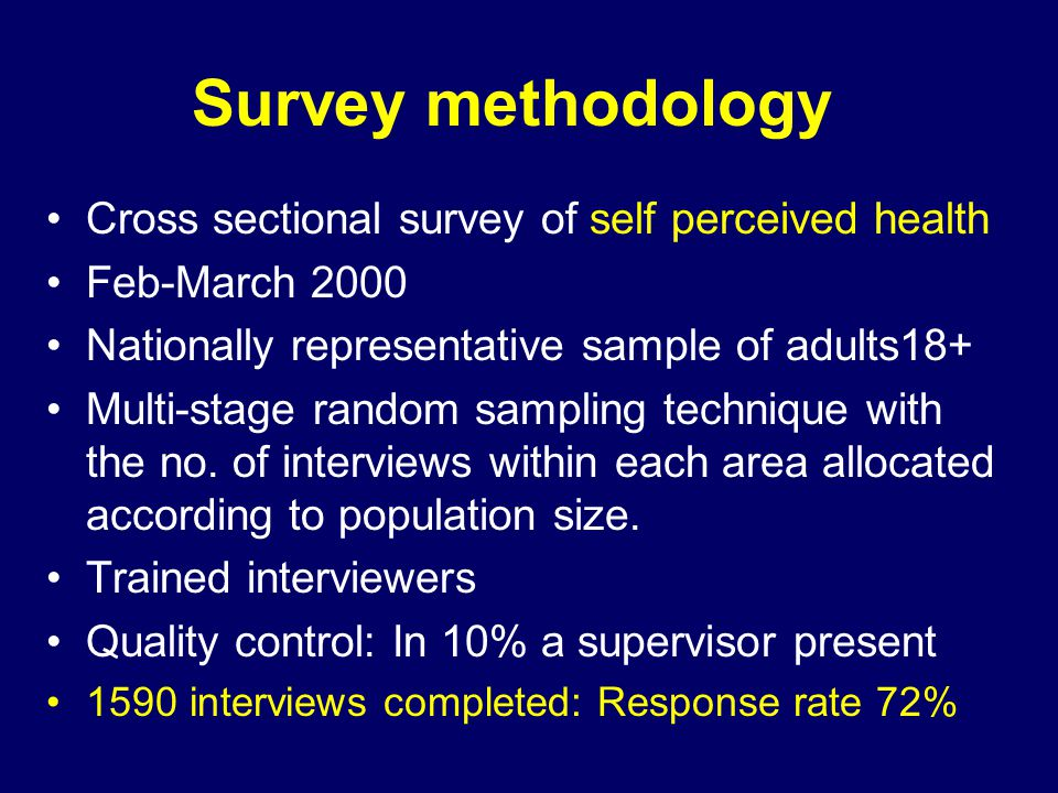 Survey methodology Cross sectional survey of self perceived health Feb-March 2000 Nationally representative sample of adults18+ Multi-stage random sampling technique with the no.