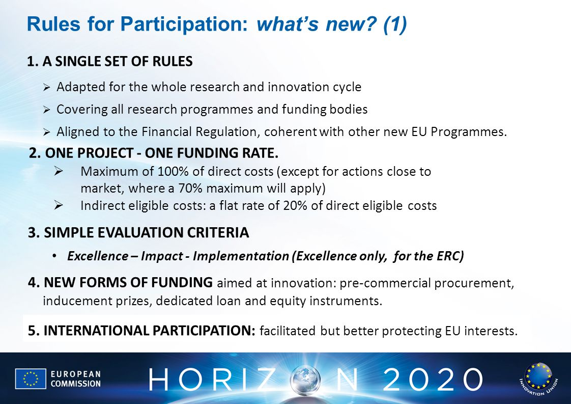  Adapted for the whole research and innovation cycle  Covering all research programmes and funding bodies  Aligned to the Financial Regulation, coherent with other new EU Programmes.