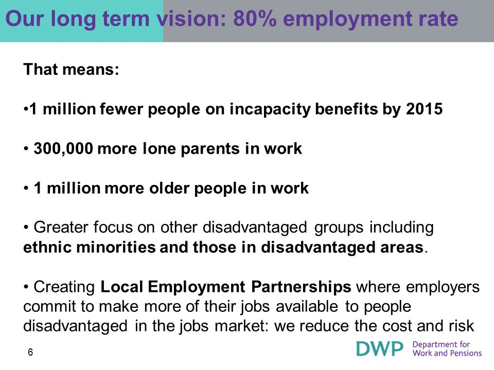 6 Our long term vision: 80% employment rate That means: 1 million fewer people on incapacity benefits by ,000 more lone parents in work 1 million more older people in work Greater focus on other disadvantaged groups including ethnic minorities and those in disadvantaged areas.