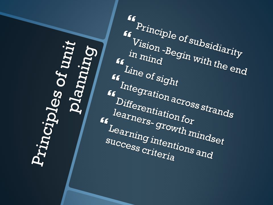 Principles of unit planning  Principle of subsidiarity  Vision -Begin with the end in mind  Line of sight  Integration across strands  Differentiation for learners- growth mindset  Learning intentions and success criteria