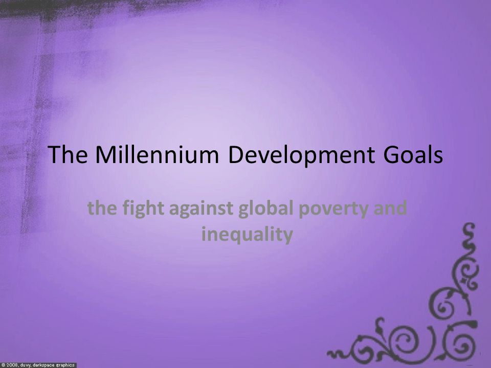 The Millennium Development Goals the fight against global poverty and inequality