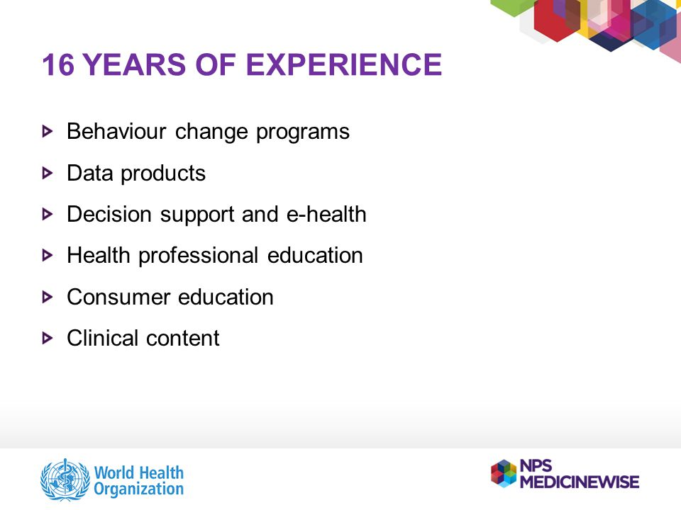16 YEARS OF EXPERIENCE Behaviour change programs Data products Decision support and e-health Health professional education Consumer education Clinical content