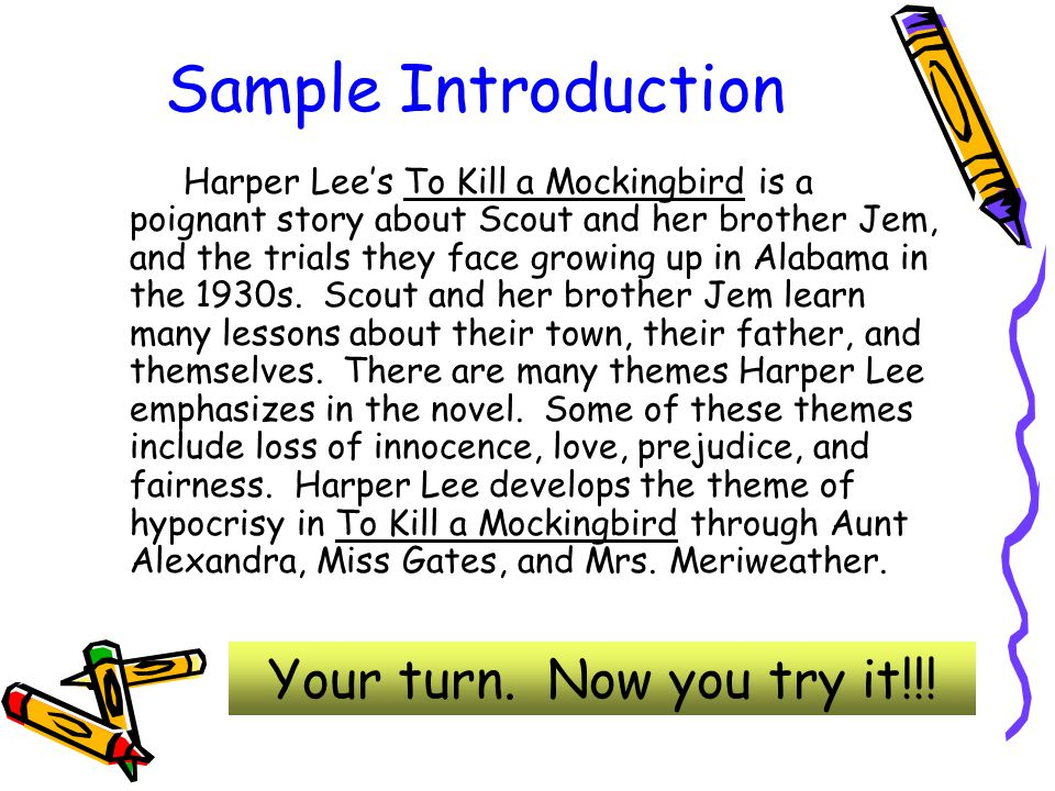 writing thesis based essays by cathy marvin reformatted by  sample introduction harper lee s to kill a mockingbird is a poignant story about scout and her