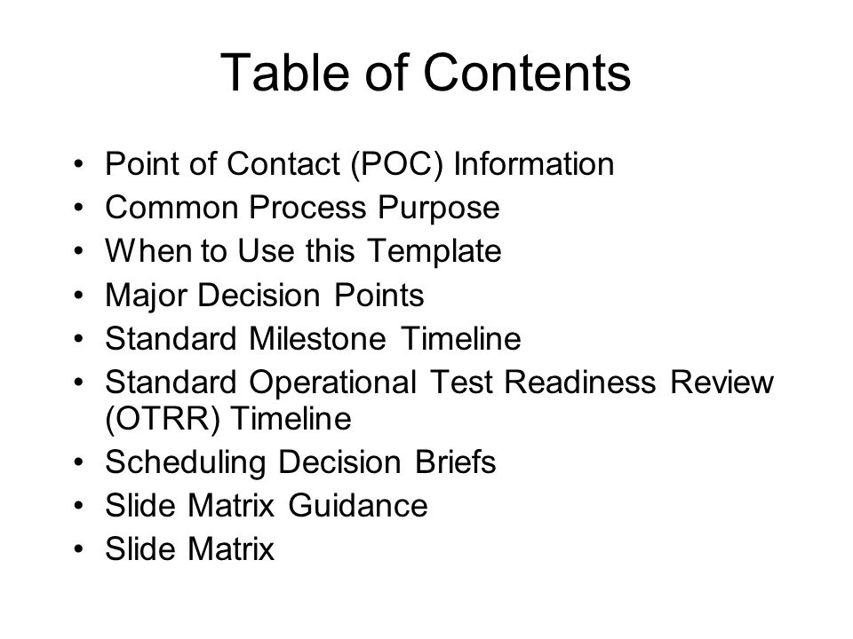 common process for developing briefings for major decision points, Presentation templates